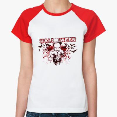 Женская футболка реглан Bloody Halloween РеглЖ(б/к)