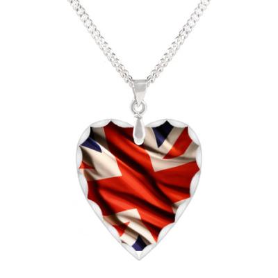 Кулон 'сердце' Британский флаг