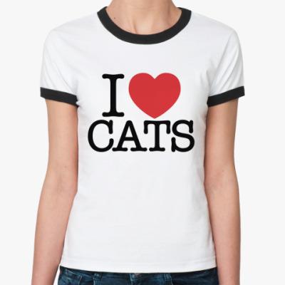 Женская футболка Ringer-T я Люблю кошек