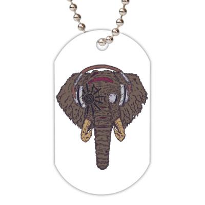 Жетон dog-tag Слон в наушниках