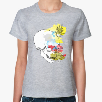Женская футболка  Августовский череп