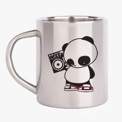 Кружка металлическая Панда с магнитофоном