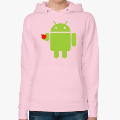 Женская толстовка худи Андроид с яблоком