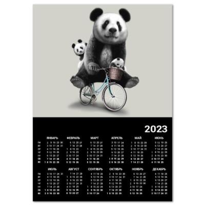 Календарь Панды на велосипеде