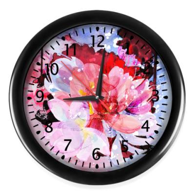 Настенные часы акварельная абстракция из цветов
