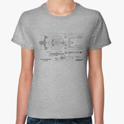 Женская футболка Схема USS Enterprise Star Trek