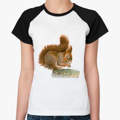 Женская футболка реглан Белка