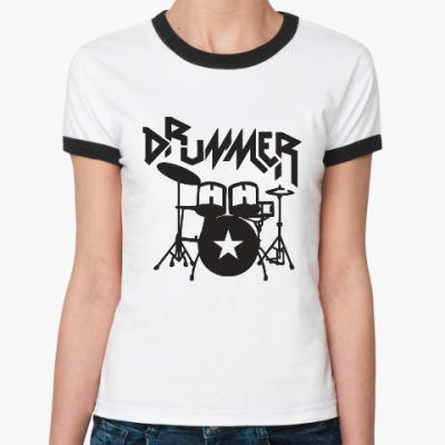 Женская футболка Ringer-T Барабанщик
