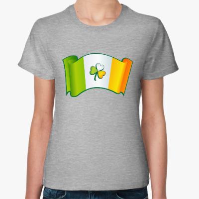 Женская футболка Ирландский флаг с клевером