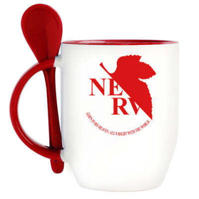 Кружка с ложкой Neon Genesis Evangelion NERV