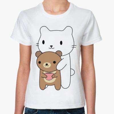 Классическая футболка Кот и мишка