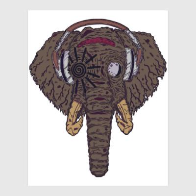Постер Слон в наушниках