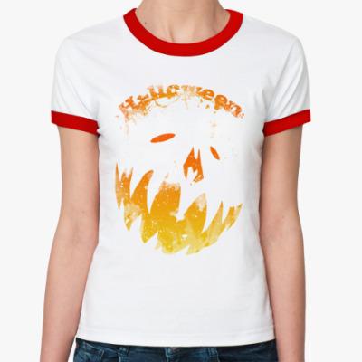 Женская футболка Ringer-T Helloween  ж(б/к)