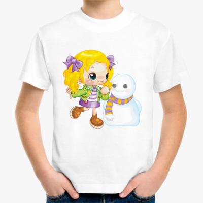 Детская футболка Девочка и снеговик