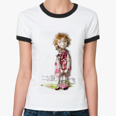 Женская футболка Ringer-T  Леля и птичка