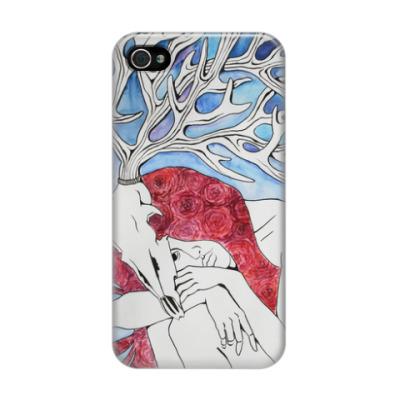 Чехол для iPhone 4/4s Девушка с рогами оленя