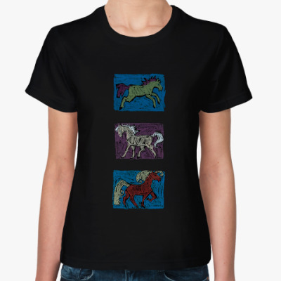 Женская футболка Лошади