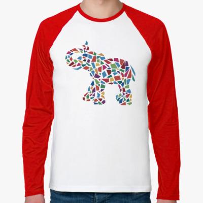 Футболка реглан с длинным рукавом Слон - мозаика