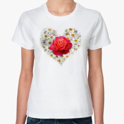 Классическая футболка Роза в сердце
