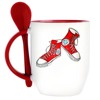 Кружка с ложкой Красные кеды