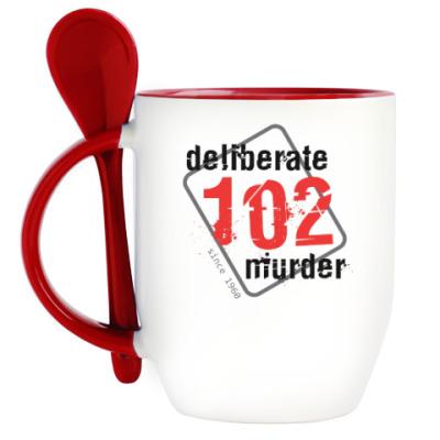 Кружка с ложкой Кружка с ложкой, красная #102DeliberateMurder