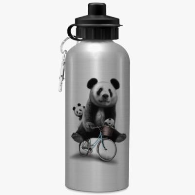 Спортивная бутылка/фляжка Панды на велосипеде