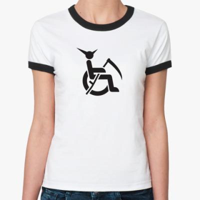 Женская футболка Ringer-T смерть инвалид