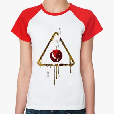 Женская футболка реглан Опасно Конфеты