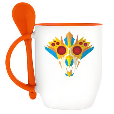 Кружка с ложкой Ритуальная маска воина