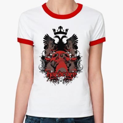 Женская футболка Ringer-T Hardcore  Ж(б/к)