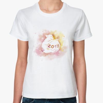 Классическая футболка Новогодняя свинка 2019