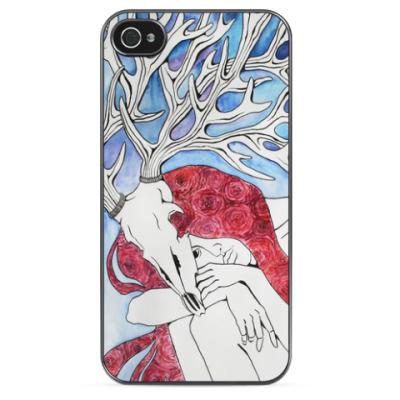 Чехол для iPhone Девушка с рогами оленя