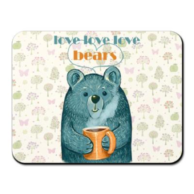 Коврик для мыши Медведь с кружкой