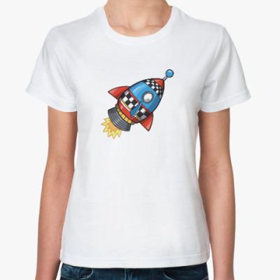 Классическая футболка Космос. Ракета. Котэ. Звезды.