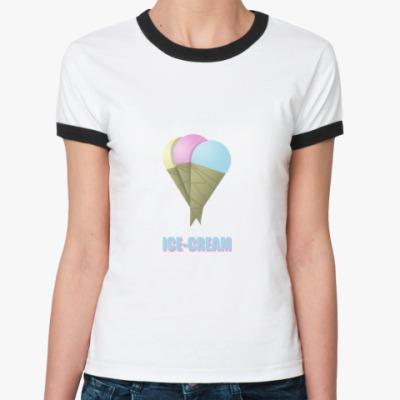 Женская футболка Ringer-T   ICE-CREAM