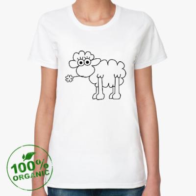 Женская футболка из органик-хлопка Овца с клевером