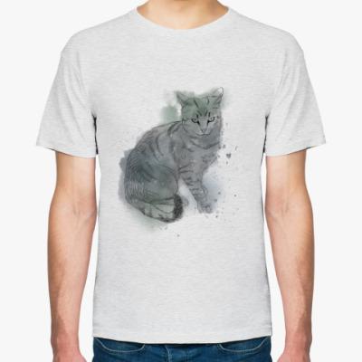 Футболка Серый сердитый кот