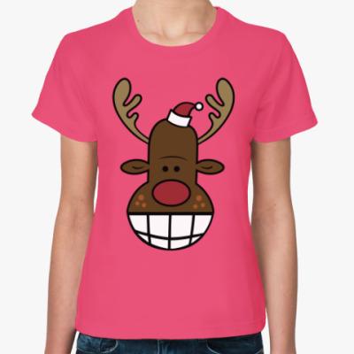 Женская футболка Олень с улыбкой