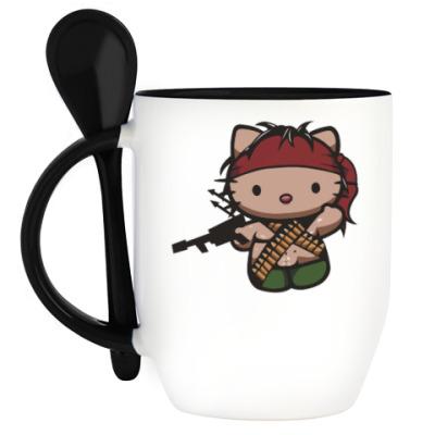 Кружка с ложкой Китти Рэмбо