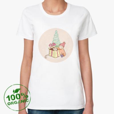 Женская футболка из органик-хлопка С Новым годом и котом