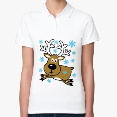 Женская рубашка поло Олень в грациозном прыжке