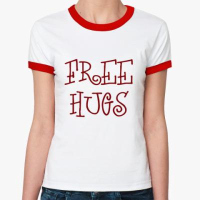 Женская футболка Ringer-T free hugs