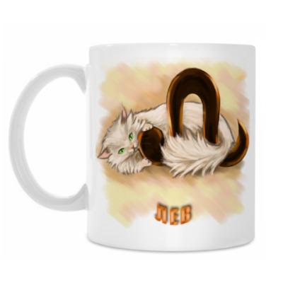 Кружка 'Лев', с белым котом