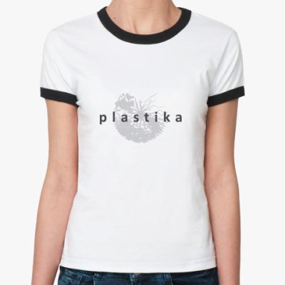 Женская футболка Ringer-T Plastika-Grey