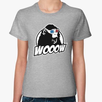 Женская футболка Обезьяна - ух ты!