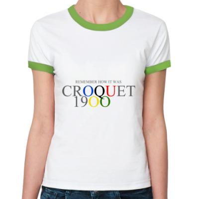 Женская футболка Ringer-T Croquet at the 1900 (жен.б/цв)