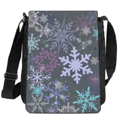 Сумка-планшет новогодние снежинки