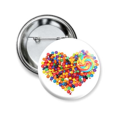 Значок 50мм I love you - Любовь в сердце