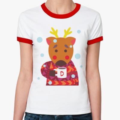 Женская футболка Ringer-T Олень с чашкой