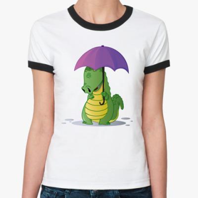 Женская футболка Ringer-T Крокодильчик с зонтиком